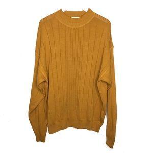 Vintage Oversized Sweater Mustard Yellow Mock Neck